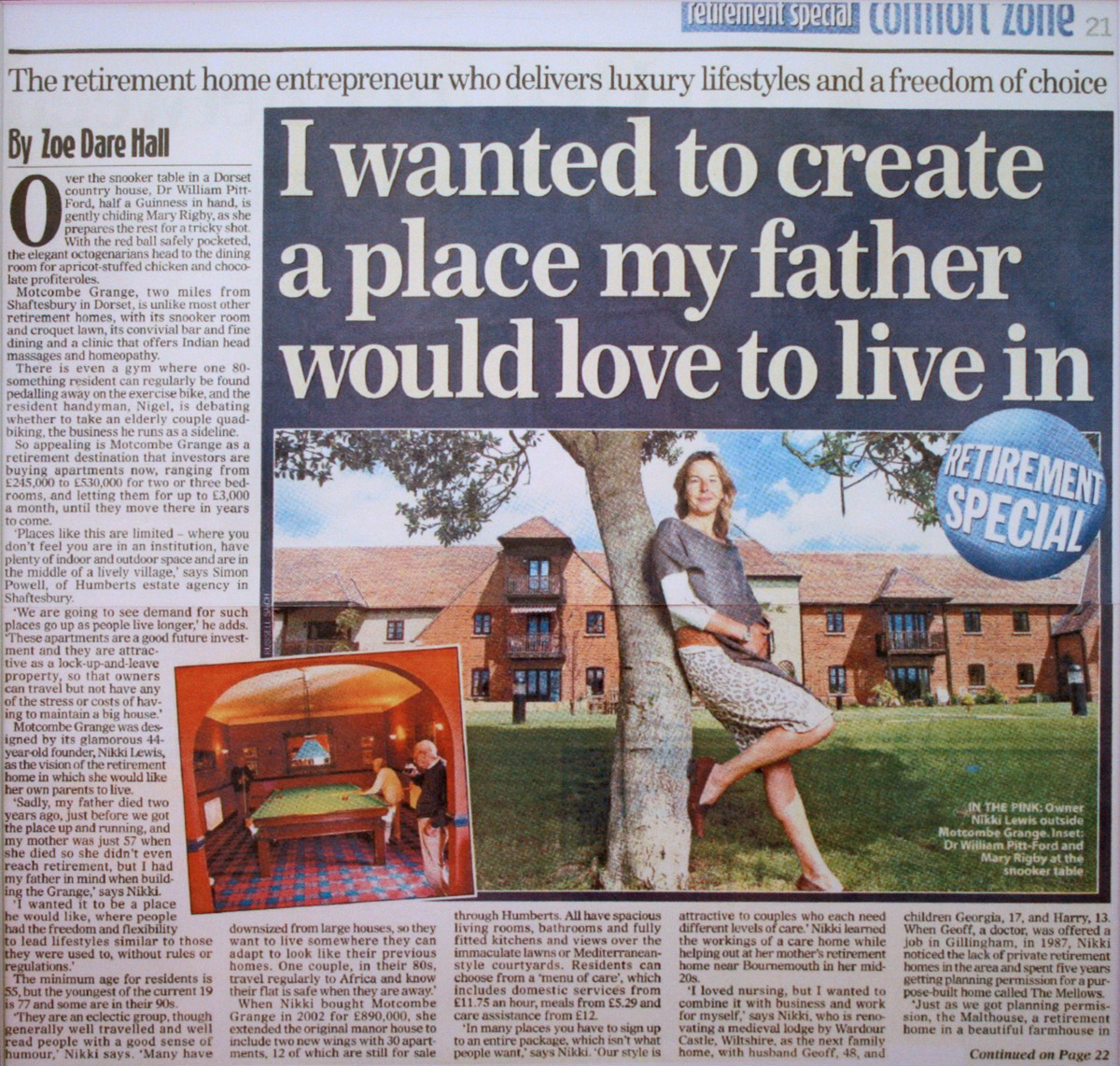 Motcombe Grange Press Article